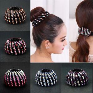 Women-Round-Crystal-Rhinestone-Claw-Hair-Clip-Clamp-Ponytail-Holder-Headwear