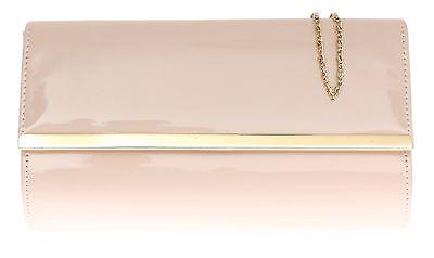 New Patent Clutch Bag Glossy Evening Elegant Wedding Prom Metallic Gold Trim