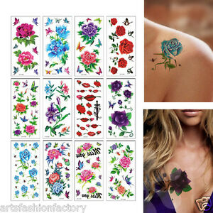 Details about 6 Sheets Temporary Tattoos Flower Halloween Fake Tattoos  Sticker Body Art Tattoo