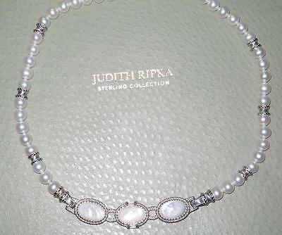 "Judith Ripka Sterling Silver Mother-of-Pearl & Cultured Pearl 18"" Necklace New"