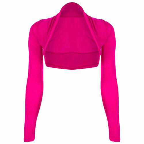 Womens Plain Long Sleeves Cropped Bolero Shrug Top Ladies Cardigan Plus Size6-26