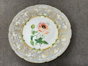 Antique English 19th Century Possibly Coalport Porcelain Cabinet Plate w/ Flower