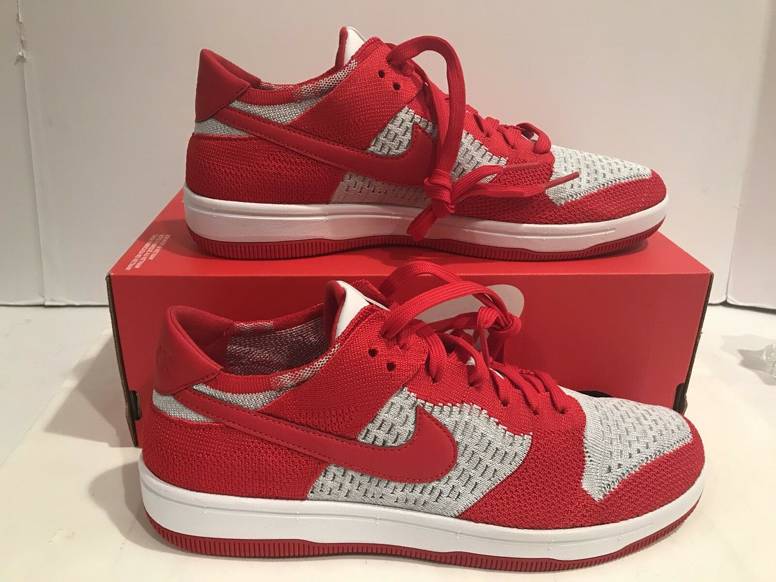 Men's Nike Dunk Flyknit Red White Wolf-Grey Running Shoes 917746 600