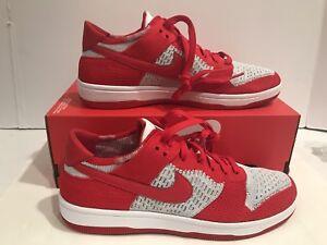 Men s Nike Dunk Flyknit Red White Wolf-Grey Running Shoes 917746 600 ... baa3486e3