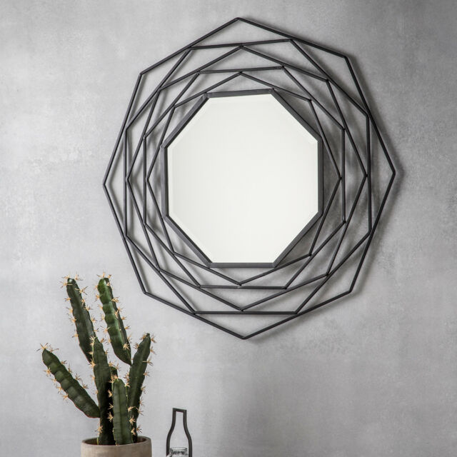 Estella Round Geometric Design Black Wall Overmantle Metal Mirror  - 92cm