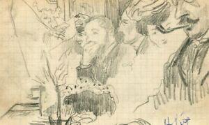 Old-drawing-original-signed-bar-scene-character-pipe-beverage-portrait