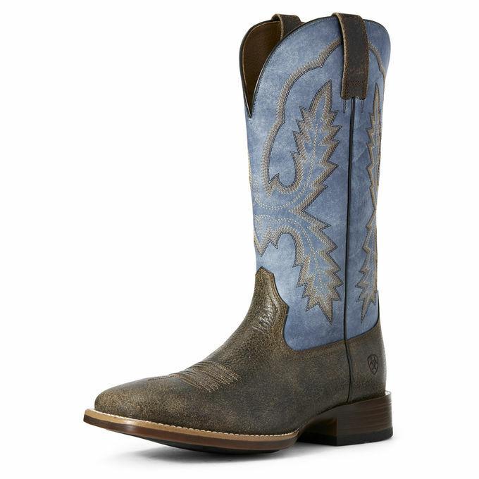 Ariat 10027168 Hombre Pecos Ancho Punta Cuadrada Azul Dos Tonos Cowboy Del Oeste