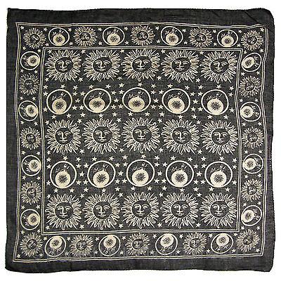 "New Black Wall Hanging Scarf Pagan Sun Moon Stars  40""x40""  Cotton"