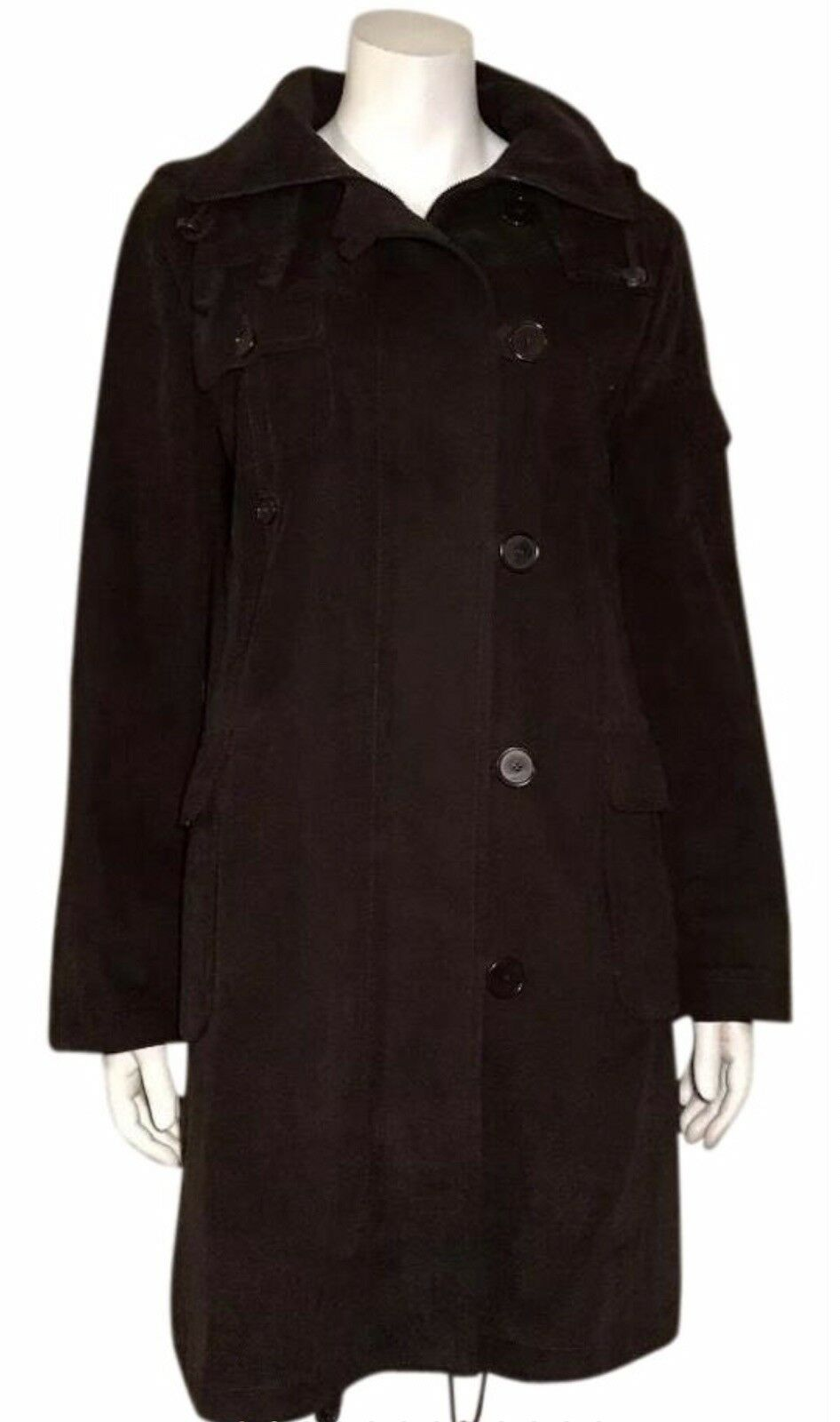 Akris Punto Brown Womens Trench Winter Hooded Overcoat 8 Removable Lining
