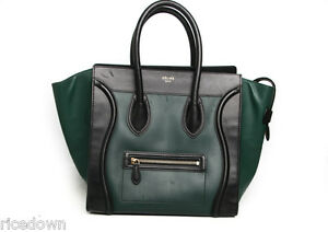 4f7dff2e4640 Image is loading Authentic-Celine-Mini-Luggage-Tricolor-Forest-Green-Black-