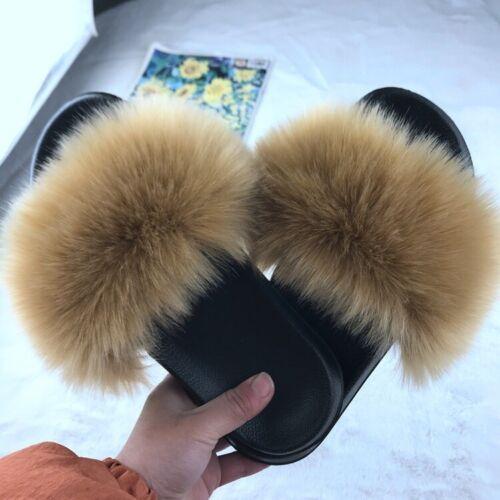 Slippers summer Flat Faux Flip Flop Women Sliders Fur Fluffy Comfy Shoes