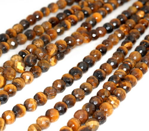 """8MM YELLOW TIGER EYE GEMSTONE GRADE A FACETED ROUND LOOSE BEADS 7.5/"""""""