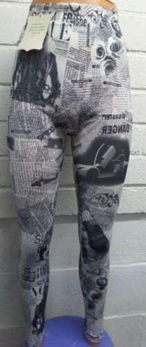 Womens Ladies New Quality Fashion Paper Vogue Print Leggings//Pants S//M M//L