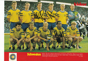 Fussball - Nationalteam Schweden EM 1992, 3 Originalunterschriften!