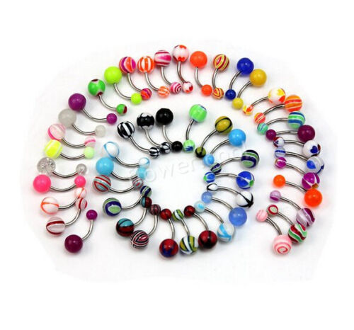 50//100Pcs Belly Button Navel Ring Bars Body Piercing Belly Jewellery Rings UK