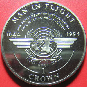 1994-ISLE-OF-MAN-1-CROWN-EMBLEM-50th-ANNIVERSARY-CIVIL-AVIATION-ICAO-no-silver