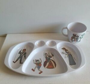 Noritake-Melamine-Ware-Vintage-PINOCCHIO-Divided-Plate-amp-Cup-Made-in-Japan