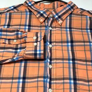 Roundtree-Yorke-Men-Long-Sleeve-Button-Up-Shirt-4XB-Big-Orange-Blue-Plaid-Bold