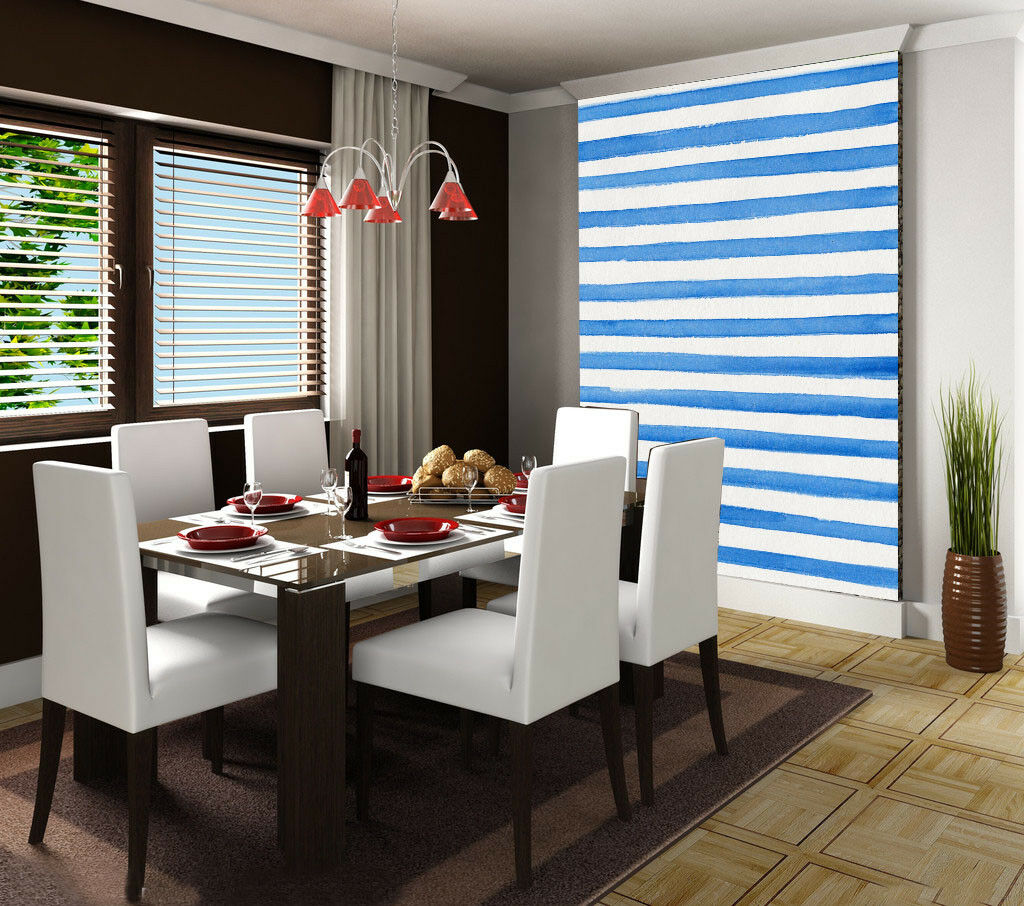 3D Blau Stripes 733 Wallpaper Mural Paper Wall Print Wallpaper Murals UK Lemon