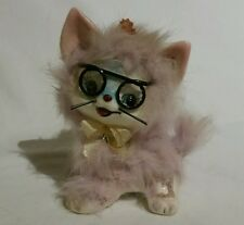Vintage Inarco Rabbit Fur Covered Porcelain Cat With Glasses Figurine Japan