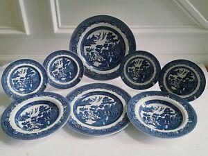 Johnson-Brothers-Bros-Blue-Willow-14-pc-Dinner-Salad-Dessert-Plates-Soup-Bowls