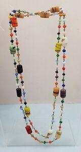 Vintage Art Glass Candy Colours Necklace Flapper Style