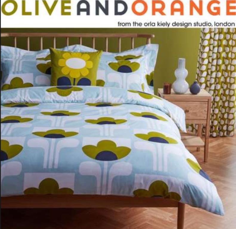 Orla Kiely Oliva e arancione grande TULIPANO AZZURRO extra large copripiumino set-NUOVI