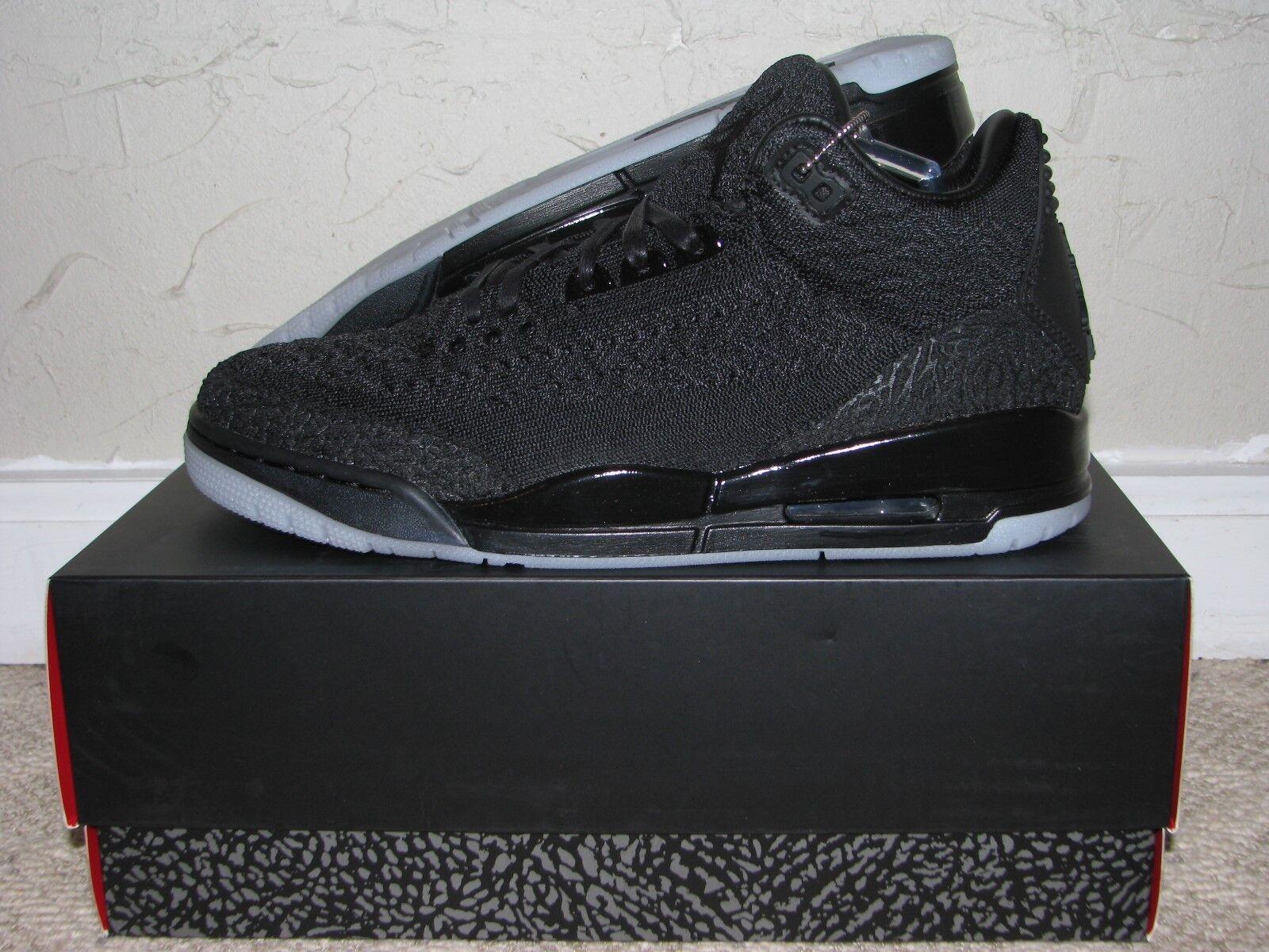 Size 9.5 - Jordan 3 Retro Flyknit Black 2018 for sale online | eBay