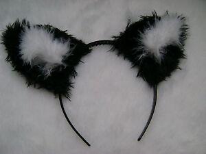 Black Fox Cat Animal Ears Faux Fur /& Marabou Trim Fancy Dress All Colours