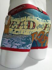 Ed Hardy Men's Red Horse-Dead or Alive Print  Short Boxer Briefs Size Large New