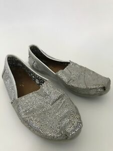 Flat Sparkle BalletEbay 7 Canvas Toms Womens Size Shoes Silver xBeQrdCoW