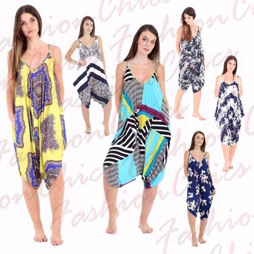 Femmes Lagenlook Cami Hareem Imprimé Cami Playsuit Summer ange combinaison 8-26