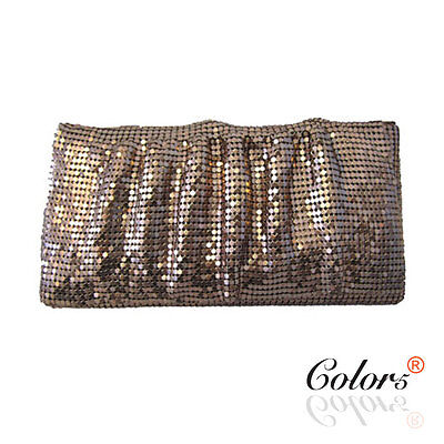 New Ladies Women Glo-Mesh-Style rectangle evening bag clutch Black Silver Red