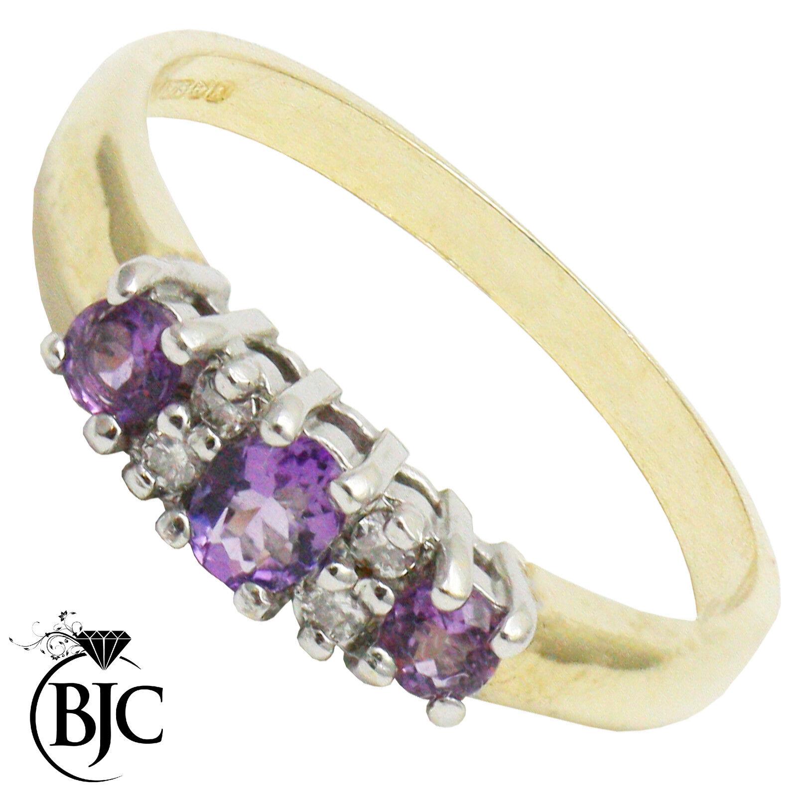 BJC 9 Karat yellowgold amethyst & Diamant halbe ewigkeit Verlobungsring R259