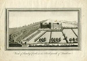 View-Of-Lumley-Castle-IN-The-Bishoprick-Durham-Engraving-Late-Century-X