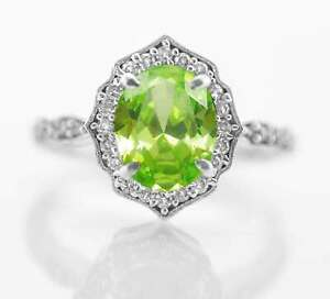 925-Sterling-Silver-Ring-Natural-Peridot-Vintage-Elegant-Size-4-11