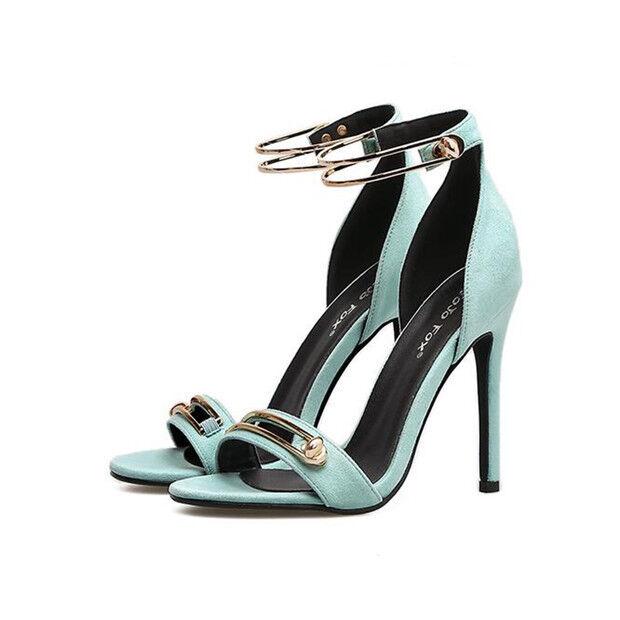 Sandali eleganti tacco stiletto 11 cm azzurro oro simil pelle eleganti 9796
