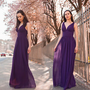 Ever Pretty UK Long Chiffon Dark Purple Wedding Gowns Bridesmaid ...