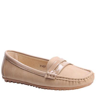 Neu Damen Slipper Mokassin Ballet Dolly Office Pumps Schuhe Größe