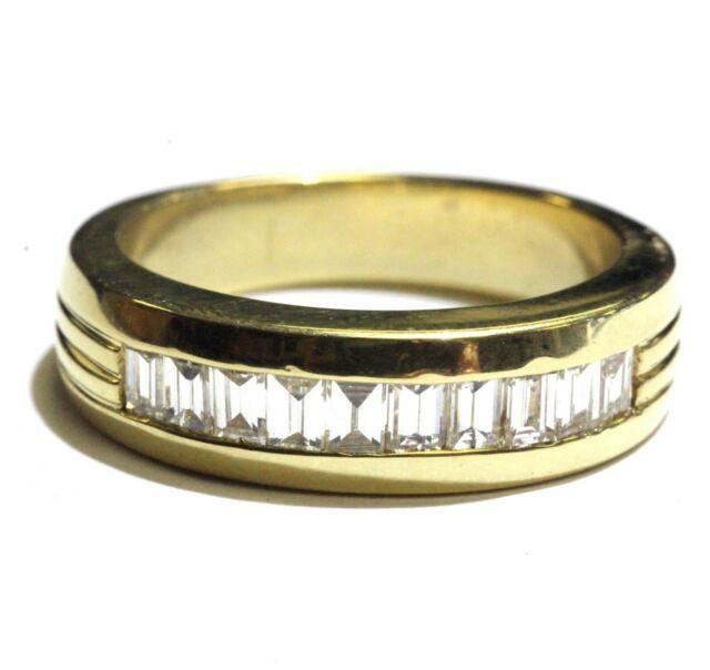 18k yellow gold 1ct VS H mens wedding baguette diamond band ring 14.1g gents