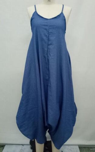 Woman Spaghetti straps Sleeveless Blue Jean Jumpsuit lantern Jean Bodysuit S-3XL