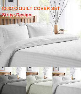 1200TC-Egyptian-Cotton-White-Grey-Cream-STRIPE-Luxury-Quilt-Duvet-Cover-Set