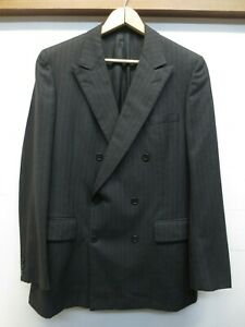 Euc Chester Barrie Austin Reed Gray Pinstripe Double Breasted Suit Jacket Sz 40l Ebay