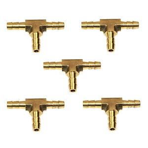 (5) Brass Tee Fittings - 1/4 Inch Hose Barb Manifold - FBT44  (5/PK)