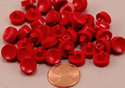 "24 Small Thick Red Plastic Shank Buttons 3/8"" 9.5MM # 6350"