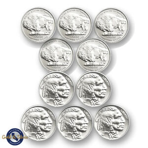 Lot-of-10-New-1-10-oz-Indian-Buffalo-Design-999-Fine-Silver-Rounds