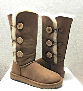 2c9527f8a3e Details about UGG BAILEY BUTTON TRIPLET II TALL CHESTNUT BOOTS US 7 / EU 38  / UK 5.5 - NEW