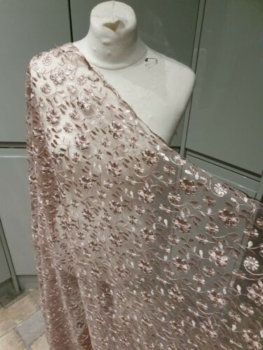 """1M DUSKY PINK BRIDAL  BOTH SIDE SCALLOPED LACE EMBRIOUDED  FABRIC 50/"""" wide"""