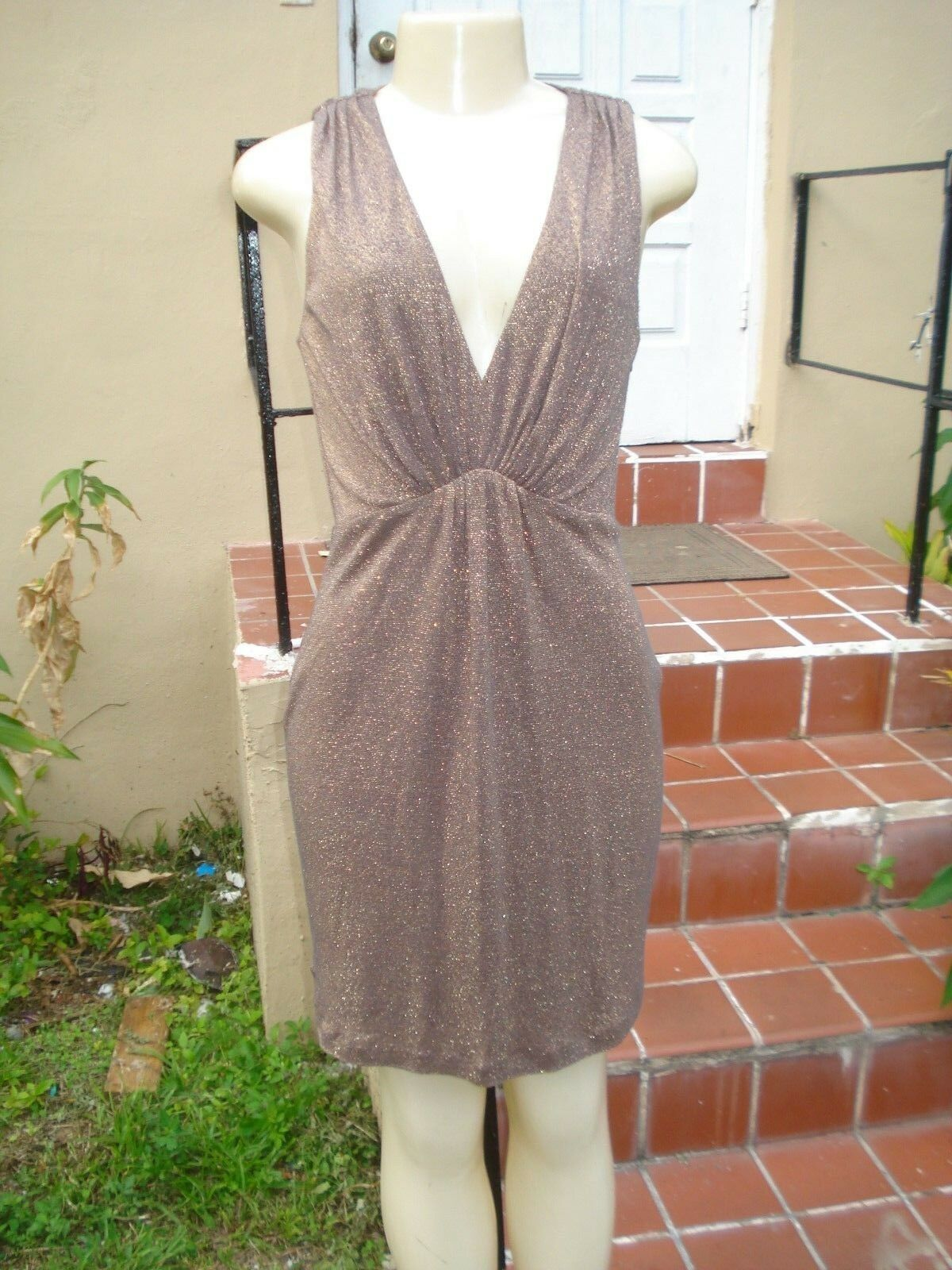 HALSTON HERITAGE gold SHIMMER BROWN STRETCH SLEEVELESS MINI DRESS Sz 2