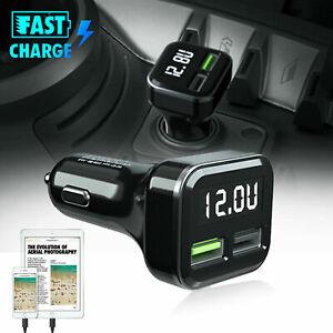 12-24V 5.5A LED Voltmeter Car Cigarette Lighter Socket QC3.0 USB Charger Adapter